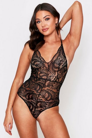 Womens Black Plunge Lace Bodysuit