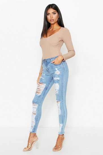 Womens Blue Multi Rip High Waisted Skinny Jeans