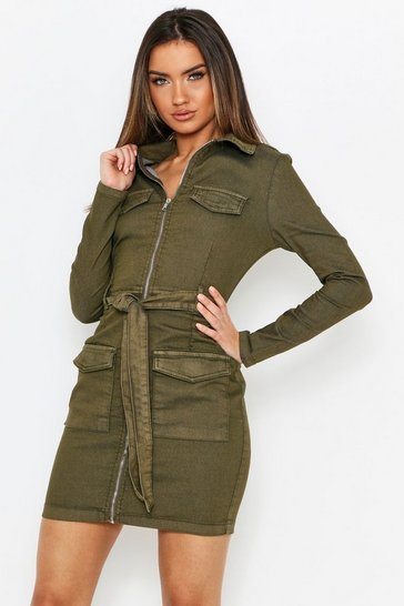 Womens Khaki Long Sleeve Tie Waist Denim Dress