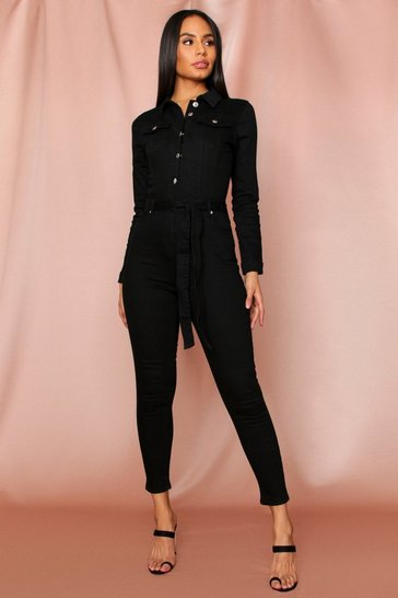 Womens Black Denim Tie Waist Long Sleeve Jumpsuit