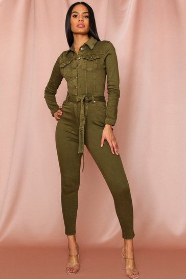 Womens Khaki Denim Tie Waist Long Sleeve Jumpsuit