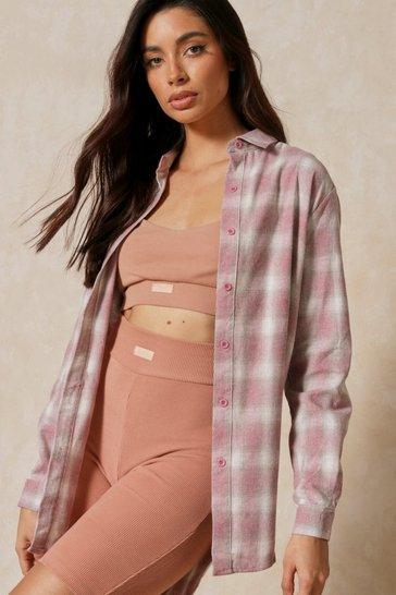 Pink Brushed Check Oversized Shirt