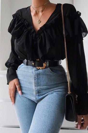 Womens Black Chiffon Ruffle Detail Blouse