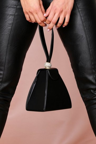 Black Structured Pyramid Bag