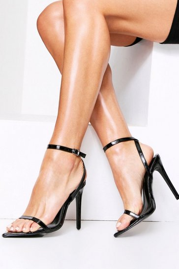 Womens Black Patent Strappy Pointed Heels