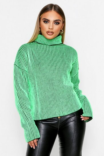 Neon-green Ribbed Knitted Turtle Neck Jumper