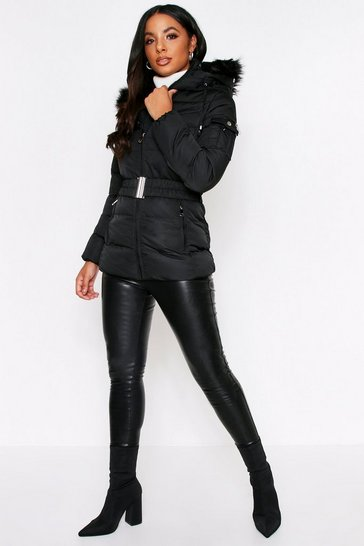 Womens Black Puffer Jacket With Faux Fur Hood