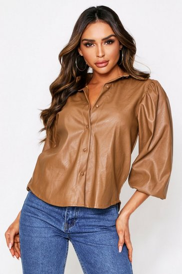 Womens Camel Pu Shirt With Puff Sleeves