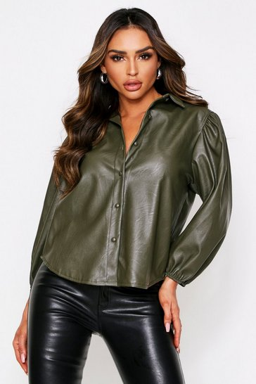 Womens Khaki Pu Shirt With Puff Sleeves