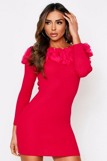 Pink Ruffle Shoulder Knitted Dress