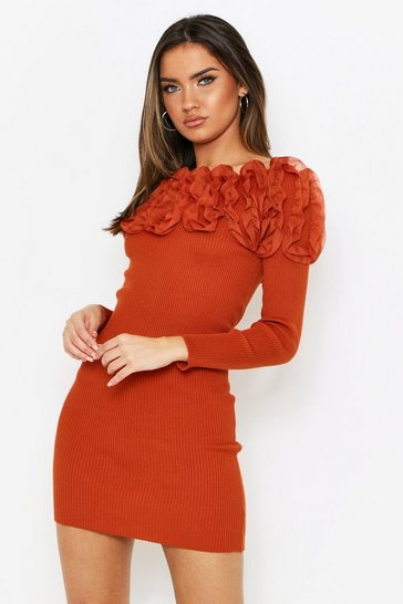 Womens Rust Ruffle Shoulder Knitted Dress