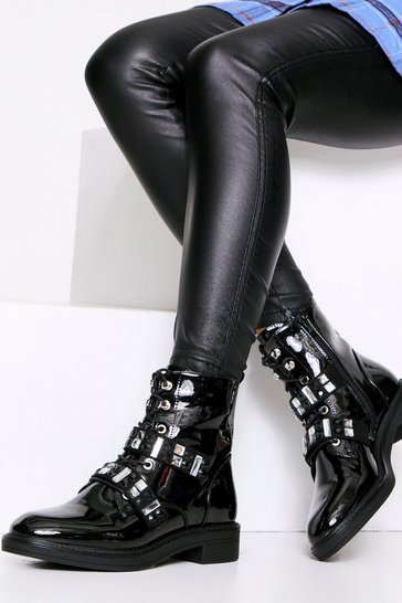 Black Jewel Strap Biker Boot Patent