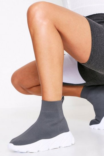Womens Grey Sock Trainer