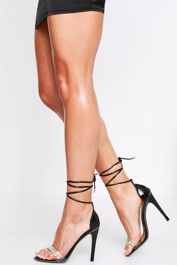 Womens Black Jewel Front Strappy Heel