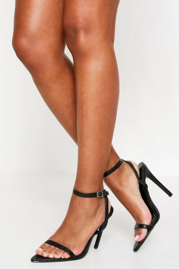 Womens Black Croc Strappy Pointed Heels