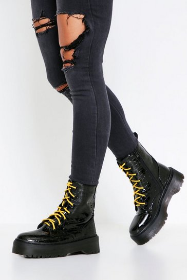Black Croc Lace Up Chunky Sole Boot