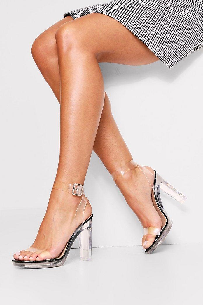 Clear Block Heel Strappy Sandal | Misspap Australia