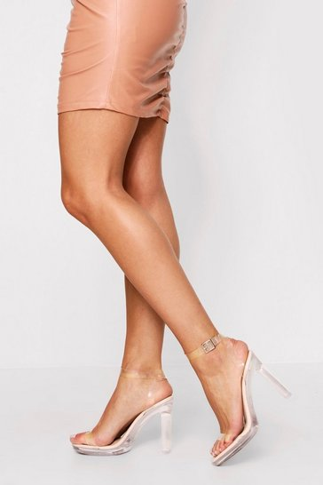 Womens Nude Clear Block Heel Strappy Sandal