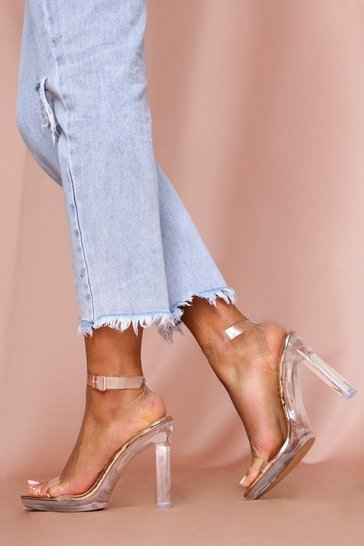 Rose gold Clear Block Heel Strappy Sandal