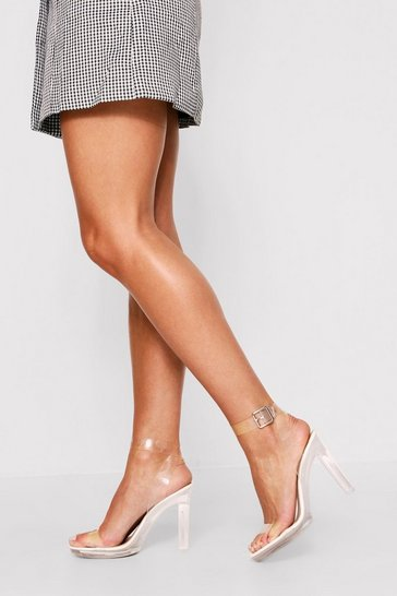 Womens White Clear Block Heel Strappy Sandal