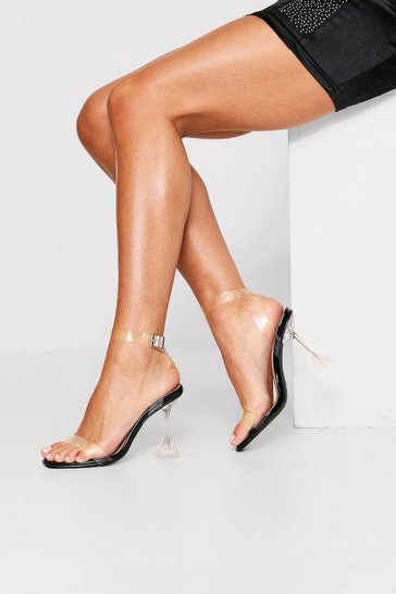 Black clear strappy flared heeled sandals