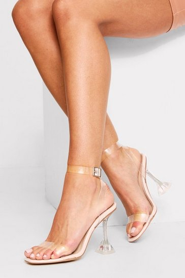 Nude clear strappy flared heeled sandals