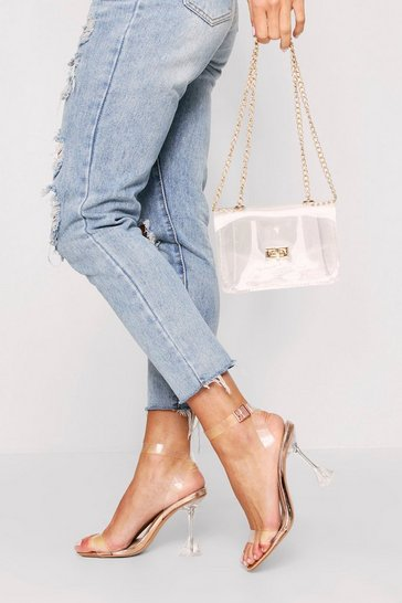 Rose gold clear strappy flared heeled sandals