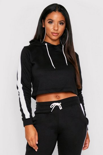 Black Sports Stripe Hooded Tracksuit
