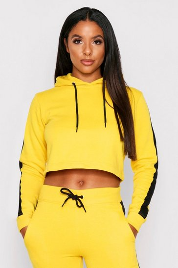 Yellow Sports Stripe Hooded Tracksuit