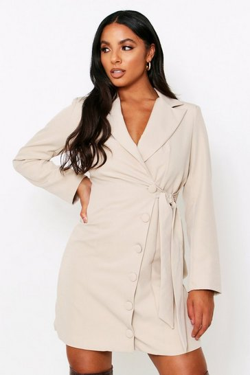 Stone Button Side Detail Blazer Dress
