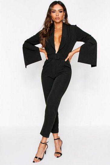 Womens Black Buckle Front Tailored Jumpsuit