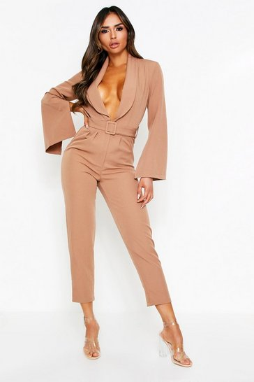 Womens Camel Buckle Front Tailored Jumpsuit
