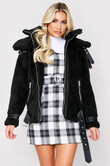 Womens Black PU Trim Teddy Fur Aviator Jacket