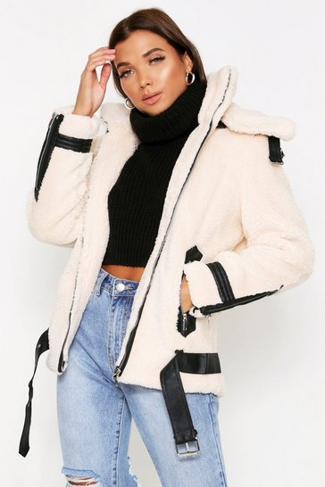 Womens Cream PU Trim Teddy Fur Aviator Jacket