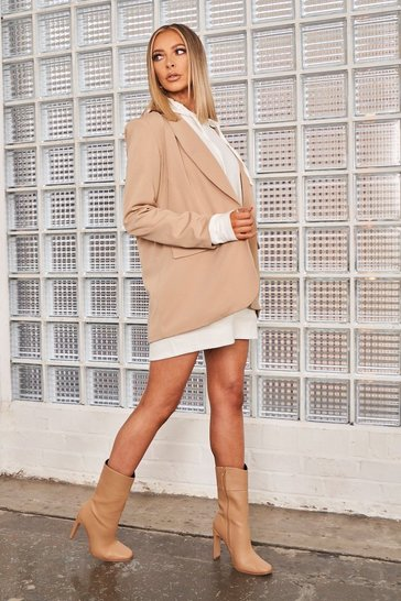 Womens Nude Oversized Buckle Front Blazer