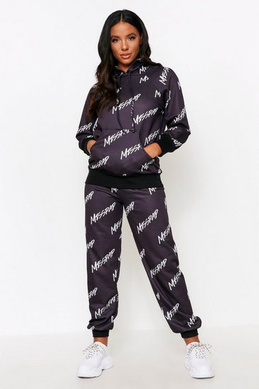 Black Misspap All Over Print Tracksuit