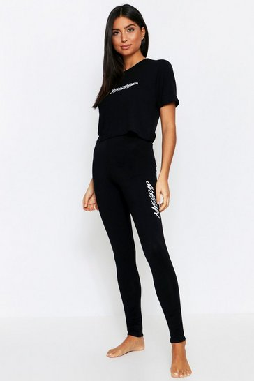 Black Misspap Crop + Legging PJ Set