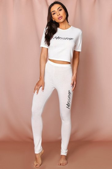 Ecru Misspap Crop + Legging PJ Set