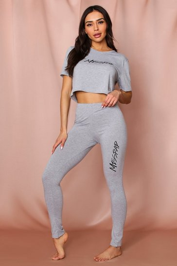 Grey Misspap Crop + Legging PJ Set