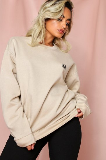 Ecru Misspap Pocket Print Oversized Sweatshirt