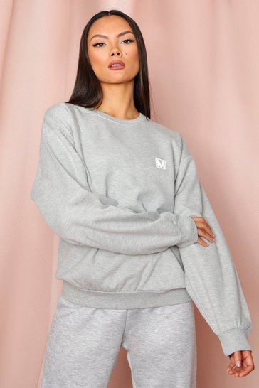 Grey Misspap Pocket Print Oversized Sweat