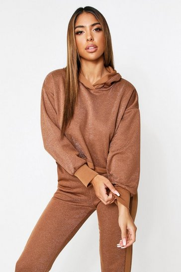Camel Glitter Crop Hooded Lounge Set