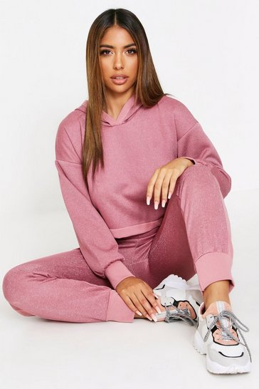 Pink Glitter Crop Hooded Lounge Set