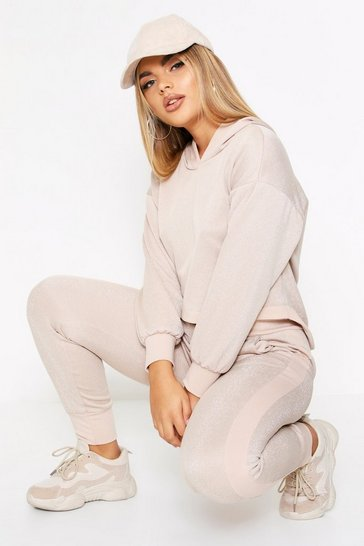 Stone Glitter Crop Hooded Lounge Set