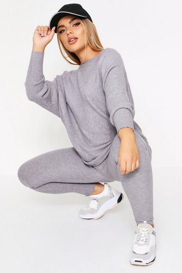 Grey Rib Knit Oversized Lounge Set