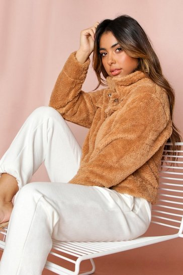 Womens Camel Teddy Fleece Pocket Front Jacket