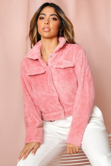 Womens Pink Teddy Fleece Pocket Front Jacket
