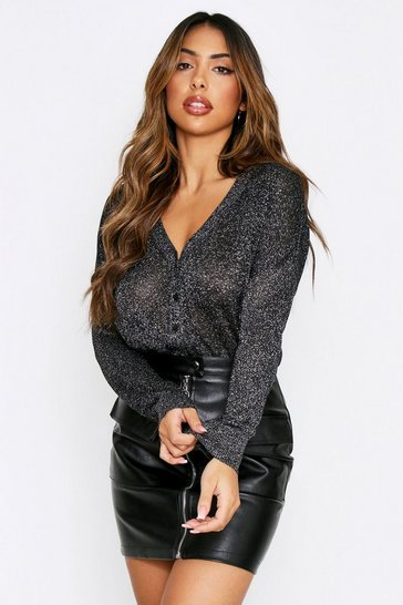 Black Glitter Knitted Cardigan