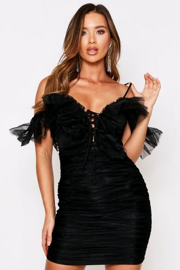 Womens Black Mesh Ruffle Ruched Dress