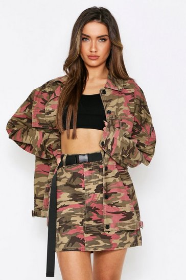 Pink Belted Camo Utility Pocket Skirt
